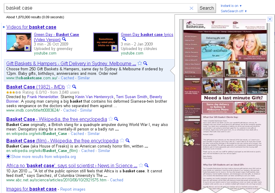 google instant previews example screenshot